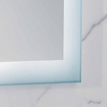 Oglindă modernă cu margini din sticlă mată, iluminat cu LED-uri, Ady
