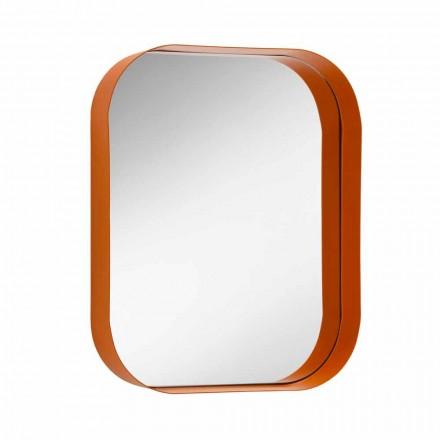 Oglindă dreptunghiulară rotunjită, cadru metalic Fabricat în Italia - Alexandra