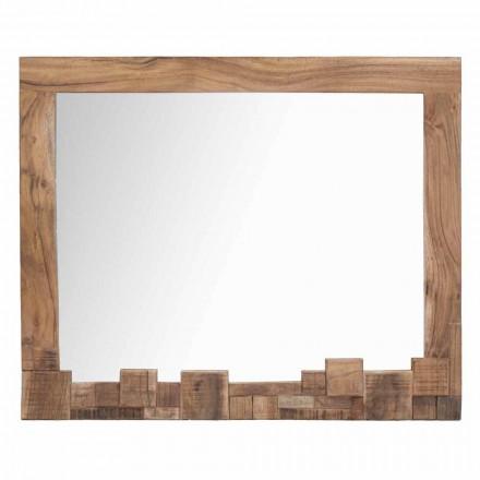 Oglindă modernă de perete dreptunghiulară cu cadru din lemn de salcâm - Eloise