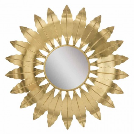 Oglindă rotundă modernă de perete cu cadru de fier - Galdi