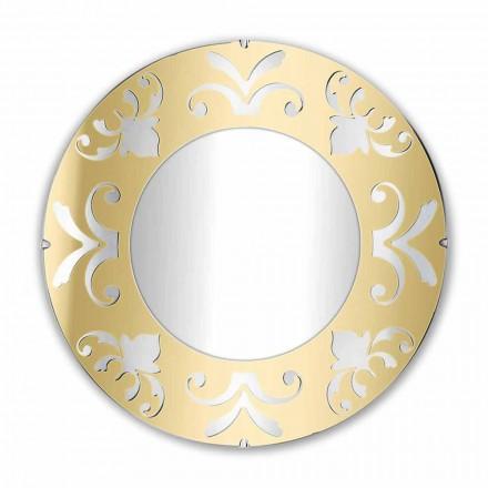 Oglindă rotundă de design din plexiglas auriu argintiu sau bronz cu cadru - Foscolo