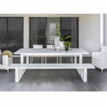 Bancă de grădină Talenti Essence din aluminiu alb fabricată în Italia