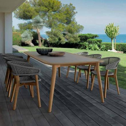 Talenti Moon masă în aer liber din lemn de tec făcută în Italia