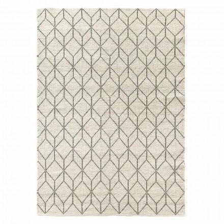 Covor modern țesut manual cu design geometric în lână pentru sufragerie - Geome