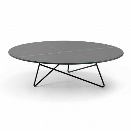 Masă de cafea rotundă pentru sufragerie din metal și sticlă cu efect de marmură de lux - Magali