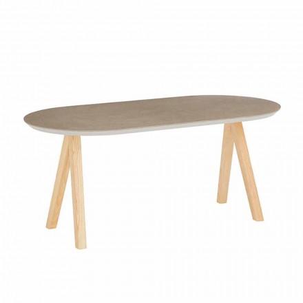 Măsuță de cafea în ceramică și lemn natural Design oval modern - Amerigo