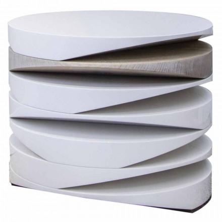 Masă de cafea din marmură albă cu insertie de travertin fabricată în Italia - Life