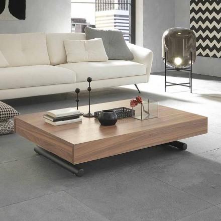 Masă de cafea transformatoare modernă din lemn și metal Made in Italy - Fabio