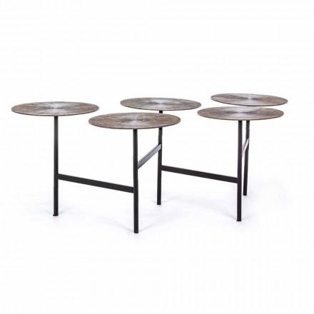 Masă de cafea Homemotion cu 5 blaturi rotunde din aluminiu - Pollino