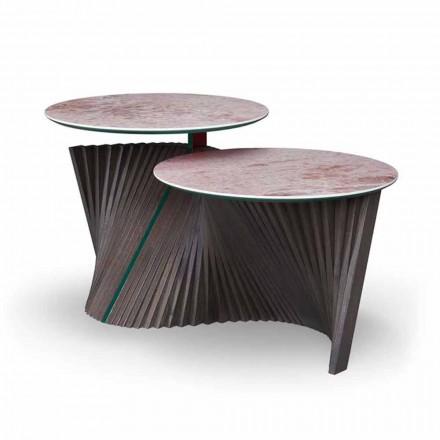 Masă de cafea de lux cu 2 blaturi rotunde în Gres Made in Italy - Stockholm