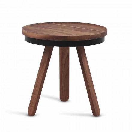 Masă de cafea de design cu blat rotund și picioare din lemn masiv - Salerno