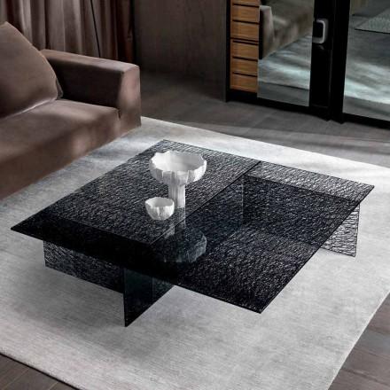 Masă de cafea design Sticlă decorată extralight Fabricată în Italia - Sestola