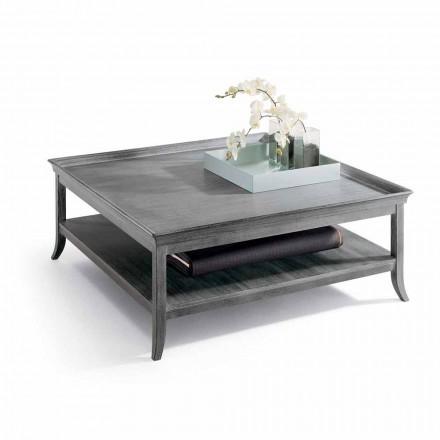 Masuta de cafea din argint emailat salon din lemn, L130xP130 cm, Berit