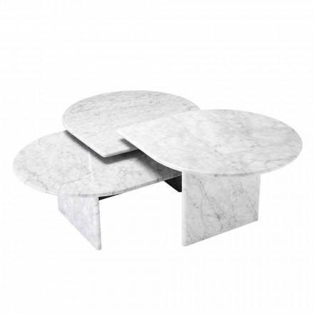 Măsuță de cafea în format de marmură albă de Carrara din 3 bucăți - Marsala