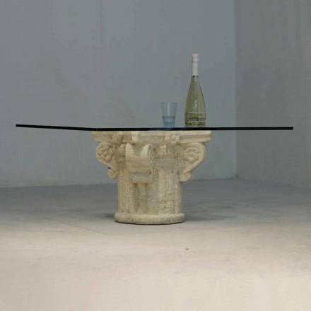 Masuta de cafea din piatra Vicenza si cristalul Balos sculptat manual