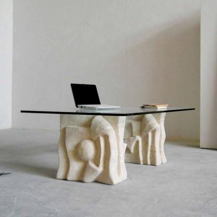 Masa de cafea din piatră Vicenza și cristal Priamo-S, sculptate manual