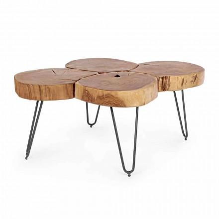 Masa de cafea moderna Homemotion din lemn si otel vopsit - Severo
