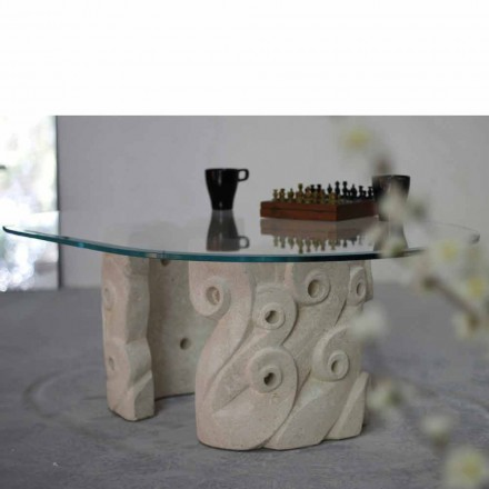 Masă de cafea ovală din piatră și cristal din Vicenza, cu mână sculptată în Lindos