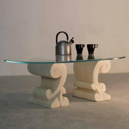 Masă de cafea ovală, piatră Vicenza pictată manual și cristal Aracne-S