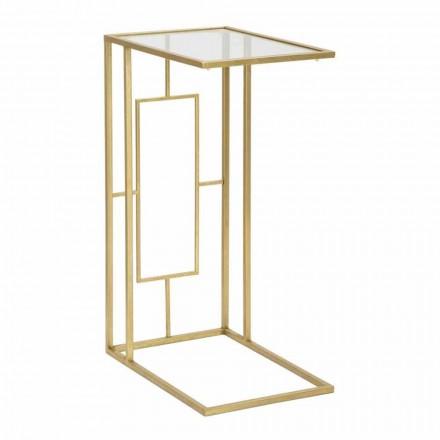 Masă de cafea dreptunghiulară din fier și sticlă modernă - Albertino