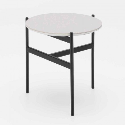 Masă rotundă din ceramică și metal cu design modern - Gaduci