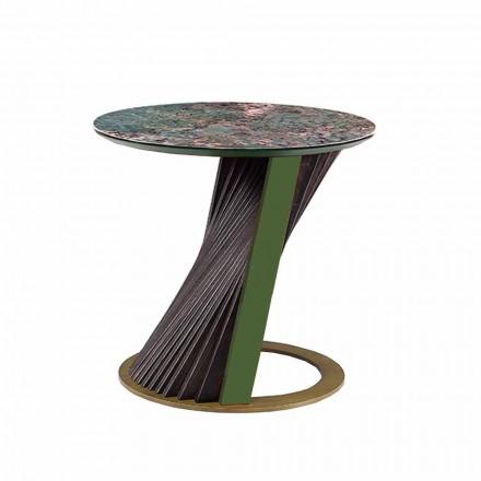 Masă de cafea rotundă de lux în Gres și frasin Made in Italy - Bering
