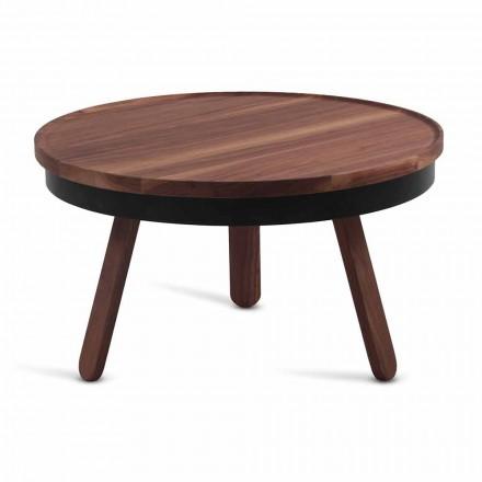 Masă de cafea cu design rotund din lemn masiv și metal - Salerno