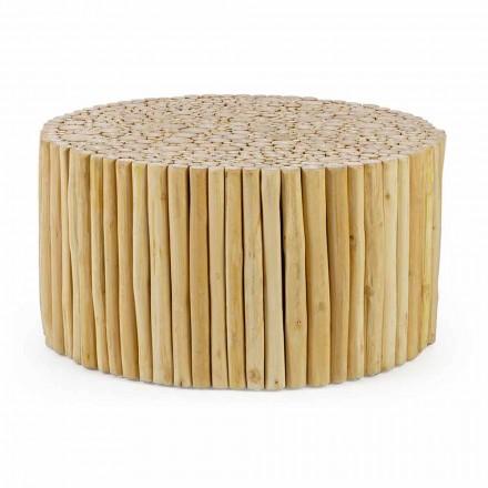 Masă de cafea rotundă formată din ramuri de tec Homemotion - Crenguță