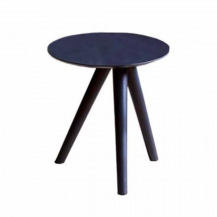 Masă de cafea rotundă din lemn lăcuit gri negru Fabricată în Italia - Stuttgart