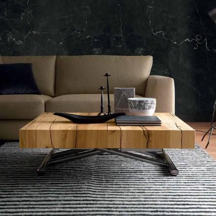 Masă de cafea transformantă din lemn masiv Made in Italy - Trabucco