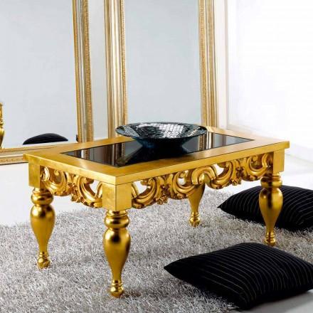 Masa de cafea design clasic din lemn Lof, finisaj de aur