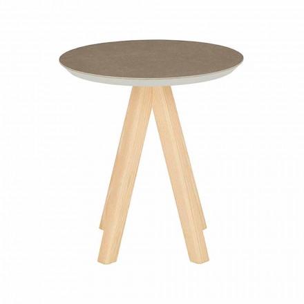 Masă rotundă de sufragerie din lemn de frasin și blat din ceramică - Amerigo