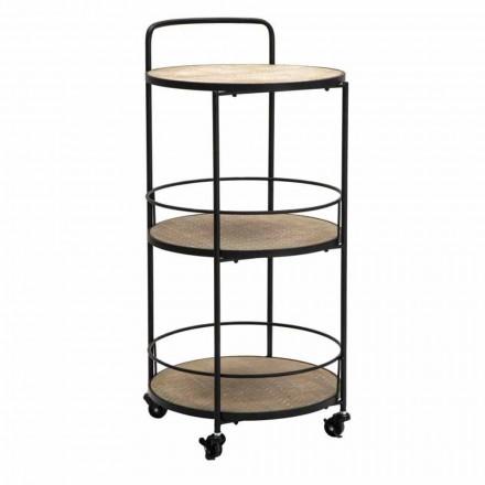 Masă de cafea cu design modern din fier și MDF cu roți și 3 rafturi - Lennox