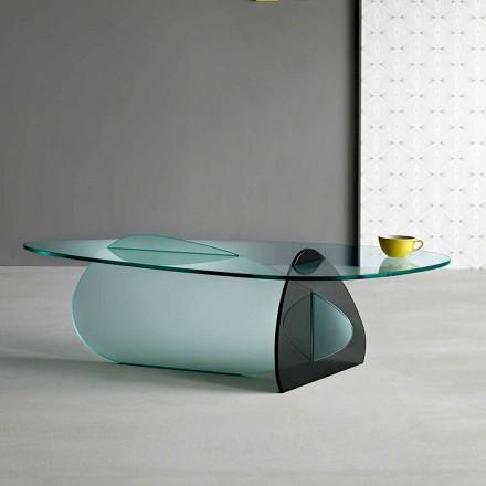 Masă de cafea design în sticlă transparentă, afumată și gravată, fabricată în Italia - Tac Tac
