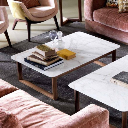 Grilli York design masă de lemn masiv și marmură de cafea făcute în Italia