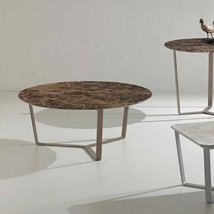 Masă rotundă din marmură de emperador, design modern, Adone