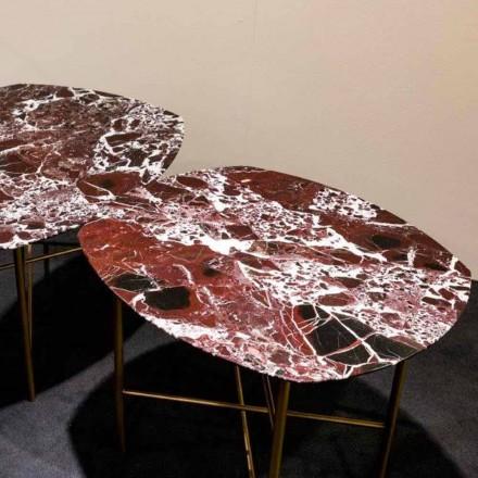 Masă de design din marmură roșie și metal Levanto, fabricată în Italia - Morbello