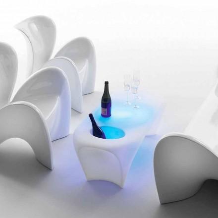 Mese de cafea luminoase cu sticlă de vin spumant, design exterior sau interior - Lily by Myyour