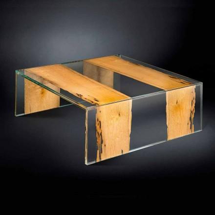 masa de cafea din sticlă modernă și Briccola venețiană din lemn