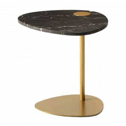 Măsuță de cafea pentru sufragerie din metal și marmură Marquinia, design de lux - Yassine