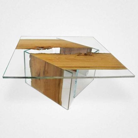 Tabelul de delfin pătrat laguna venețiană din lemn și sticlă