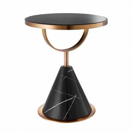 Masă de cafea rotundă din oțel cu finisaj de cupru și piatră modernă - Aprilia