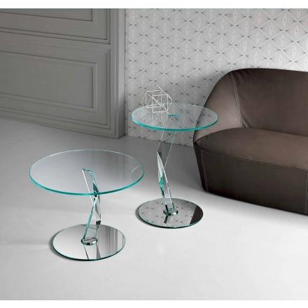 Masă rotundă de design rotundă din sticlă extra-transparentă realizată în Italia - Akka
