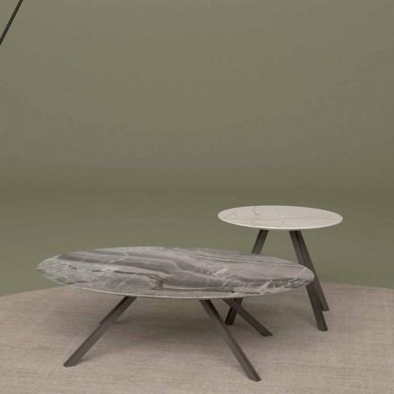 Masă de salon din marmură Orobico sau Calacatta și Metal Made in Italy - Sirena