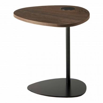 Masă de cafea pentru sufragerie din metal și blat din lemn, design de lux - Yassine