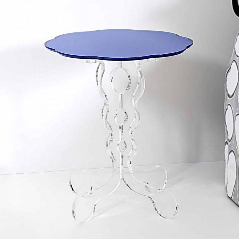 Albastru cu diametrul de 36 cm, masa rotunda design modern Janis, made in Italy