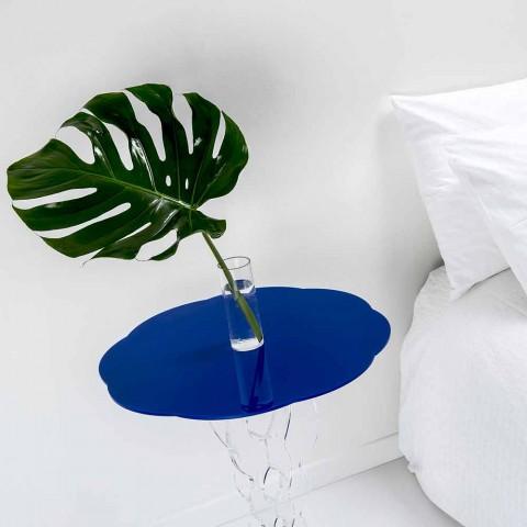 Albastru cu diametrul de 50 cm, masa rotunda design modern Janis, made in Italy