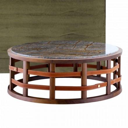Masă rotundă din lemn masiv și marmură Grilli Harris fabricată în Italia