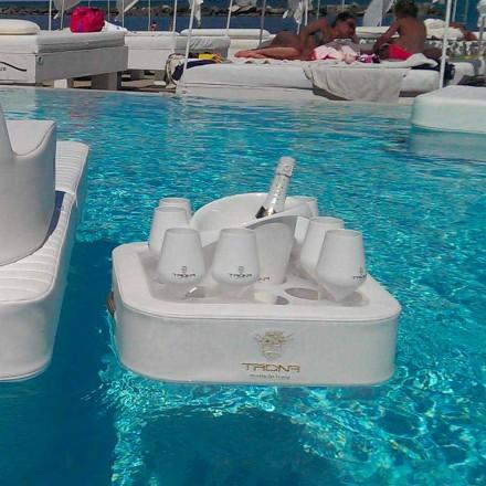 Masuta de cafea - tava plutitoare din piele faux și plexiglass nautice Trona