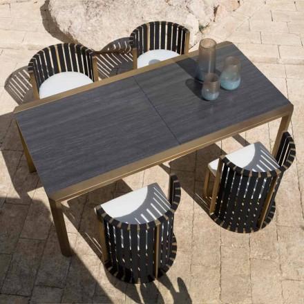 Masă extensibilă 340 cm Dining exterior în aluminiu și sticlă sau Laminam - Julie